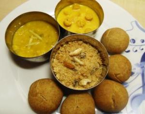 Churma served with daal baati and gatte ki sabzi